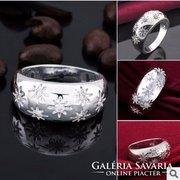 Fehér csillag mintás ezüst gyűrű 8-as ÚJ!