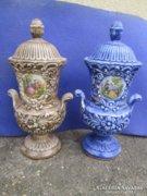 Nápolyi fajansz fedeles váza párban Capodimonte
