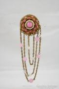 Antik ásványi köves rózsaszín bross