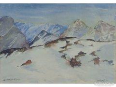 0E705 Merz jelzéssel osztrák festő : Havas Alpok