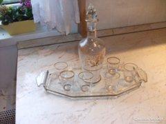 Antik díszes likőrös készletet árulok üvegtálcával!