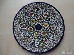 Kerámia tányér Izraelből, kézzel festett