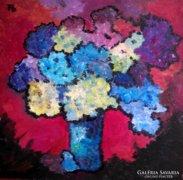 Színes virágok piros háttérrel - Ben Farkas