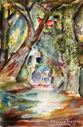Benedek Péter (1889-1984): Patakparton - akvarell