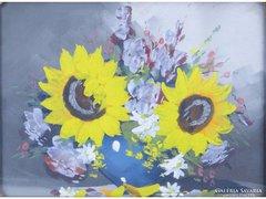 0E801 Régi virágcsendélet blondel keretben