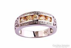 Ezüst, pezsgő színű köves gyűrű 7-es ÚJ!