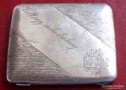 Antik ezüst Nemesi címeres cigarettatárca