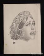Helbing Ferenc: Női arckép fejdísszel