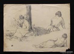 Helbing Ferenc: Pihenő nőalakok