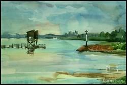"""Akvarell tájkép """"Balaton vihar előtt"""""""