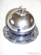 Alma  alakú fém-üveg cukortartó