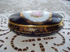 Limoges-i, kobaltkék porcelán bonbonier