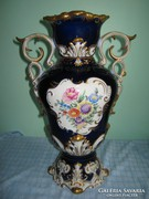 Barokk Hollóházi váza, mélykék