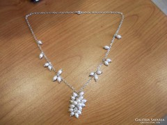 Csodálatos tenyésztett gyöngyös ezüst nyaklánc