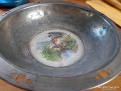 Antik ón tányér porcelán képpel kb. 1920