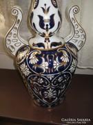 Rokokó Hollóházi váza, mélykék, arany domboros, 44 cm I.