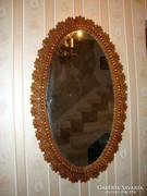 Nagy ovális faragott fa tükör