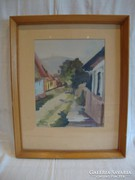 Jelzett akvarell festmény utcakép