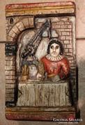 Flamand  festett falikép,