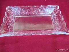 Virág mintás üveg kínáló 17x12 cm    0506