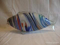 Retro színes üveg hal szobor , dísztárgy