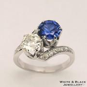 1ct Zafír és Gyémánt gyűrű, felújított, használt ékszer, 14K