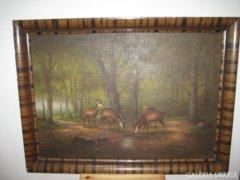Déry Imre -  Szarvasok. Festmény 95 x 70 cm