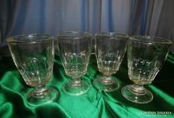 Talpas üvegpohár, antik, 4 db