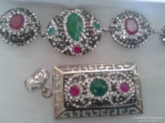 925-ös ezüst rubin+smaragd+topáz+ónix szett