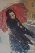 Esernyős Lány - olaj -vászon 1937 múzeumi másolat