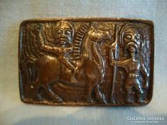 Iparművész fémműves bronz kitűző bross