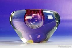 0H353 Retro cseh művészi Bohemia üveg váza