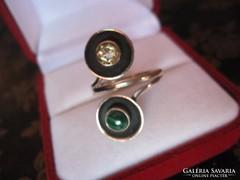 Citrin és malachit köves posztmodern ezüst gyűrű