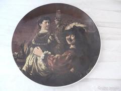 Porcelán falitányér, 19. század végi festmény, Rembrandt