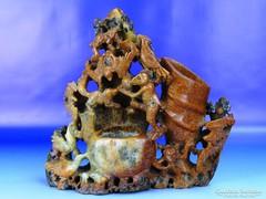 0H132 Antik faragott állatmintás zsírkő szobor