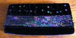 Bársony színházi táska, színes csillámokkal 21 x 11