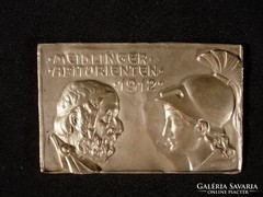T071 Antik német ezüstözött fém plakett 1912