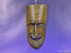 0F890 Faragott keményfa fali maszk falidísz