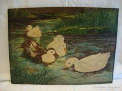 Jelzett olaj-fa festmény , kacsák '48