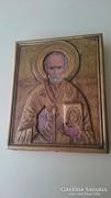 Szent Miklós rézborítású ikon.