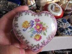 Német porcelán szív alakú ékszertartó