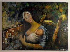 """Magyar festő """" Anya gyermekével"""" 1940-50-es évek"""