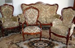 Antik barokk háromülése kanapéval négy darabos szalongarnitu