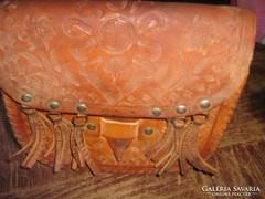 Gyönyörű vintázs barna valódi bőr retikül kézimunka