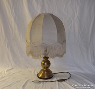Réz nagy méretű asztali lámpa vászon burával 57 cm magas