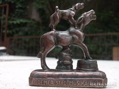 Brémai muzsikusok miniatűr szobor,levélnehezék, dísz
