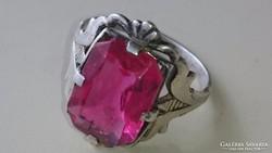 Régi Orosz 875 ös ezüst gyűrű rubin színű kővel