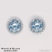 Akvamarin fülbevaló gyémántokkal körberakva 14 arany ékszer