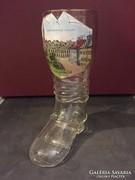 Régi csizma alakú üveg korsó