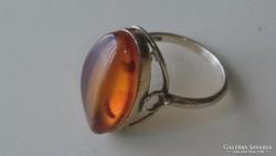 Gyönyörű Borostyánköves Orosz 875 ös ezüst gyűrű